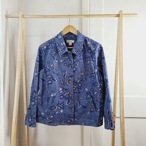 Blue Floral Jacket Corduroy Denim Jean